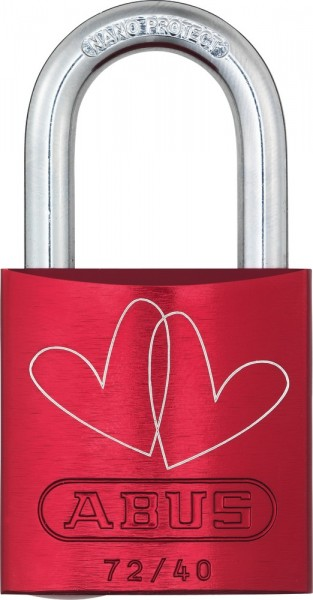 ABUS Fahrradschloss Vorhangschloss Aluminium 72/40 rot Love Lock 3 Lock-Tag