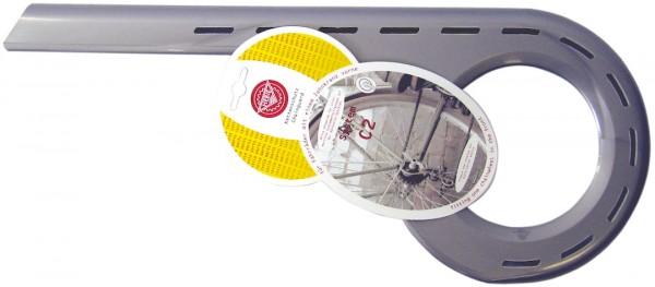 HEBIE Kettenkasten aus ABS Kompatibilität: 44 - 48 Zähne | Laufradgröße: 26 - 28 Zoll | silber | ein