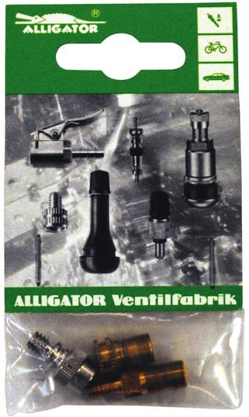 ALLIGATOR Adapter Ventil Set SB-Verpackung | schwarz / silber | mit Stift und Rückschlag