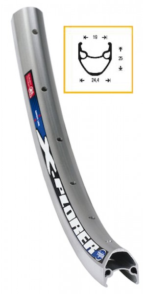 RYDE Felge Rigida X-Plorer 19 x 622 | 28 Zoll | silber