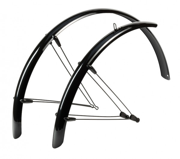 HEBIE Steckschutzblech Set Rainline schwarz glänzend | Laufradgröße: 28 Zoll | Schutzblechbreite: 58
