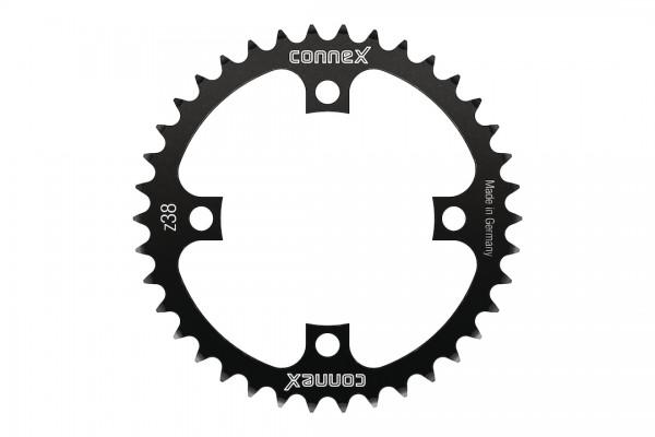 CONNEX Kettenblatt für Bosch Gen 3 38 Zähne | schwarz | Lochkreis: 104 mm | Ausführung: 1/2 x 3/32 f