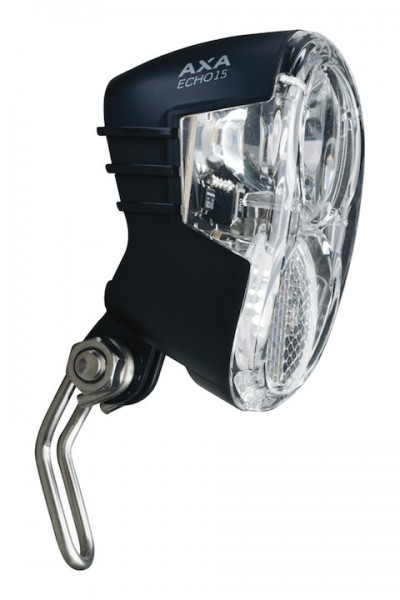 AXA Dynamo-Scheinwerfer Echo 15 Switch inkl. Twinrod Niro Halter | Befestigung: Gabelkrone | schwarz