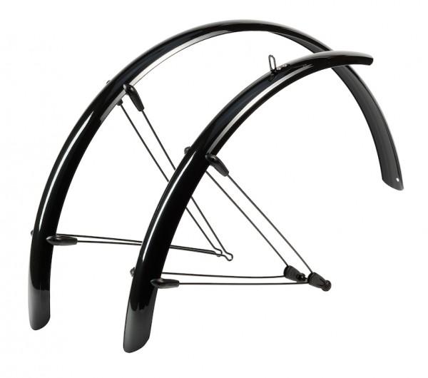 HEBIE Steckschutzblech Set Rainline schwarz glänzend   Laufradgröße: 28 Zoll   Schutzblechbreite: 53