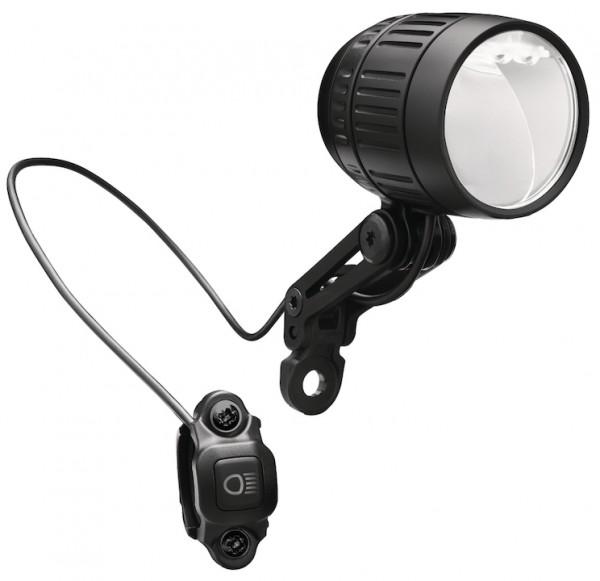 B&M E-Bike LED Scheinwerfer LUMOTEC IQ-XM inkl. Anschlusskabel 140 cm | Befestigung: Gabelkrone | sc