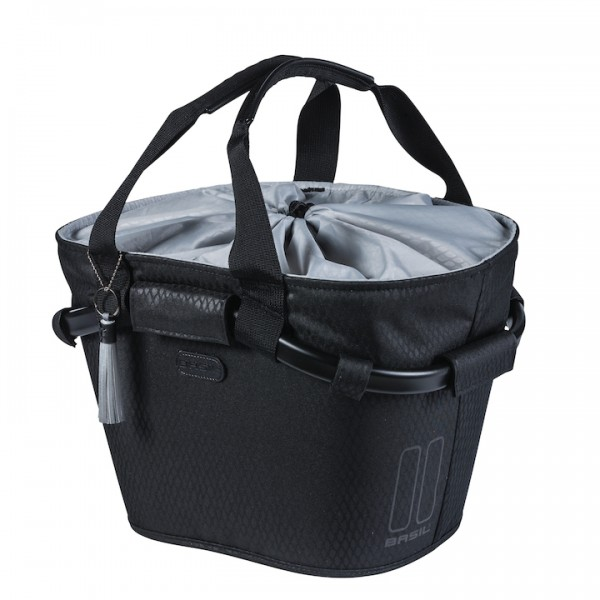 BASIL Front Basket Carry All Noir midnight black