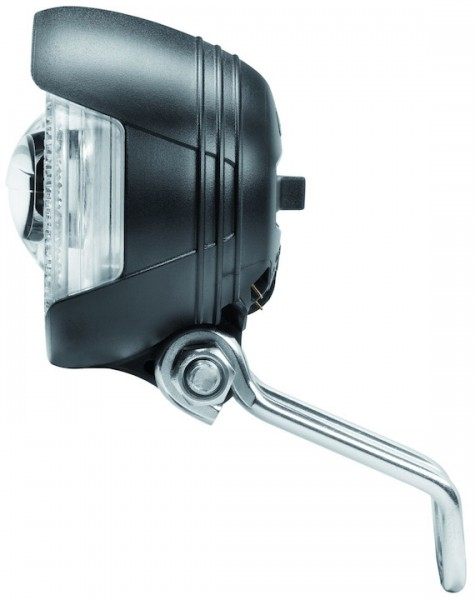 B&M Dynamo-Scheinwerfer Lumotec Lyt B N inkl. solider Edelstahlhalter | Befestigung: Gabelkrone | sc