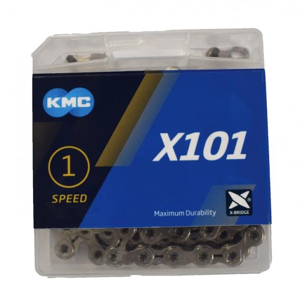 KMC Fahrrad Kette X101 Kompatibilität: Nabenschaltung   SB-Verpackung   silber   112 Glieder