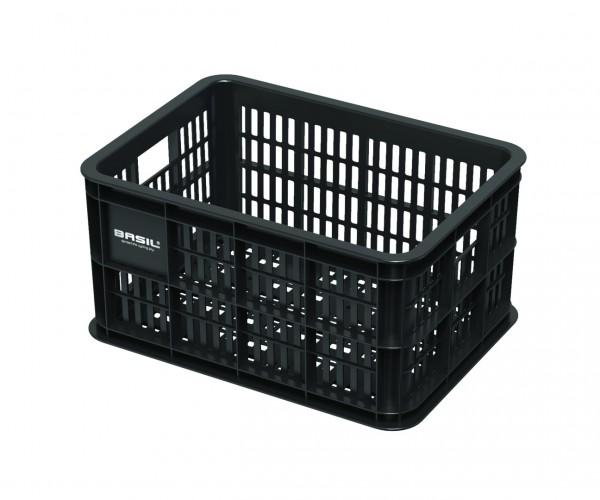 BASIL Kunststoff-Fahrradkasten Crate schwarz   Für MIK-Adapterplatte: Art.-Nr. 32387   Größe: S