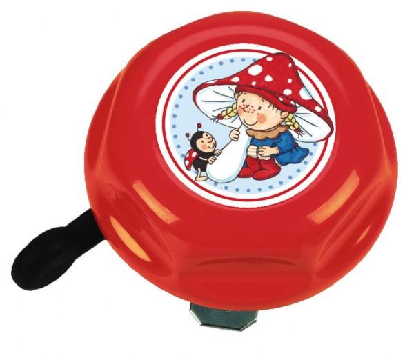 BIKE FASHION Kinder-Glocke Wichtel rot | Motiv: Wichtel | Durchmesser: 57 mm