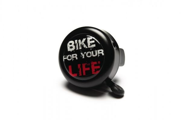 "REICH Fahrradklingel Motiv ""Bike for your Life"" schwarz | Lenkerdurchmesser: 22,2 mm"