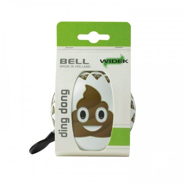 WIDEK Ding-Dong Glocke Poo weiß / braun | Motiv: Emoji | Durchmesser: 80 mm