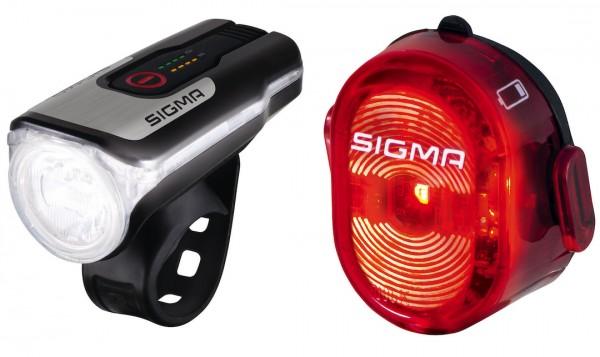 SIGMA Beleuchtungsset Aura 80 USB /Nugget II Befestigung: Lenker | schwarz