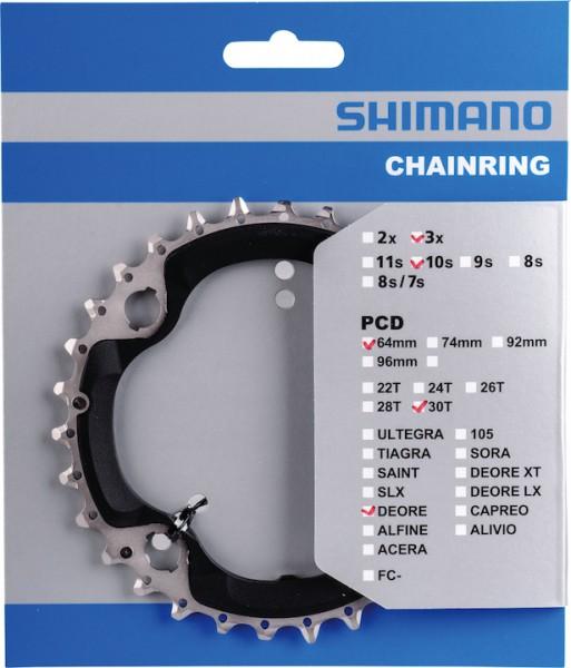 SHIMANO Kettenblatt Deore FCM6000 30 Zähne | schwarz | Lochkreis: 96 mm