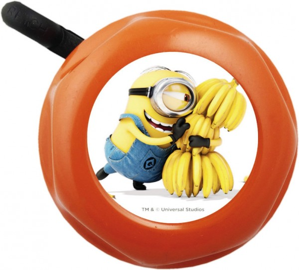 BIKE FASHION Kinder-Glocke Minions orange / weiß | Motiv: Minions | Durchmesser: 57 mm