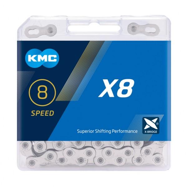 KMC Fahrrad Kette X8 Kompatibilität: 6/7/8-fach | SB-Verpackung | silber | 114 Glieder
