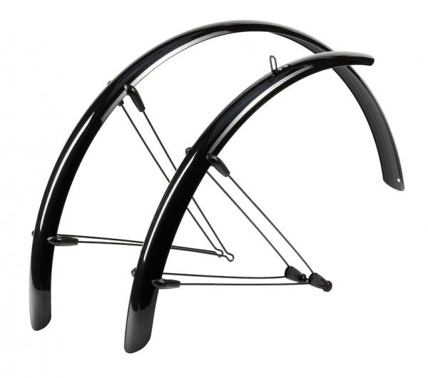 HEBIE Steckschutzblech Set Rainline schwarz glänzend   Laufradgröße: 28 Zoll   Schutzblechbreite: 36