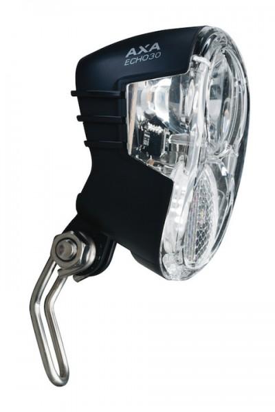 AXA Dynamo-Scheinwerfer Echo 30 Switch inkl. Twinrod Niro Halter | Befestigung: Gabelkrone | schwarz