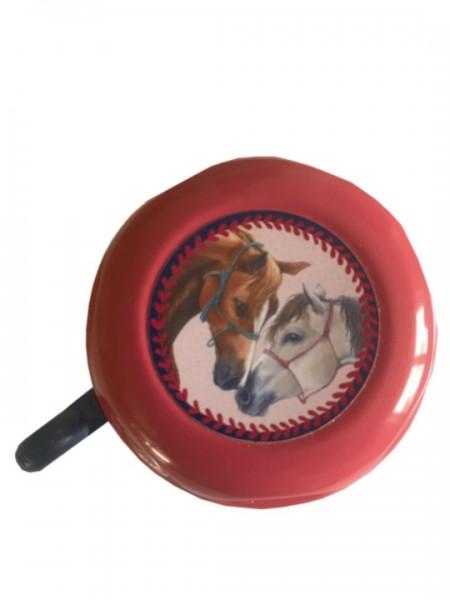 BIKE FASHION Kinder-Glocke Pferdefreunde pink | Motiv: Pferde | Durchmesser: 57 mm | Lenkerdurchmess