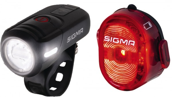 SIGMA LED Beleuchtungsset Aura 45 FL +Nugget II Befestigung: Lenker | schwarz
