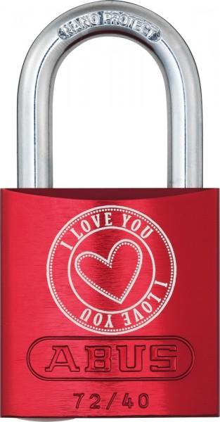 ABUS Fahrradschloss Vorhangschloss Aluminium 72/40 rot Love Lock 5 Lock-Tag