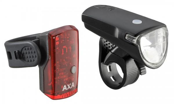 AXA LED Akkuleuchten Set Green Line 35 Lux Befestigung: Lenker / Sattelstütze | schwarz
