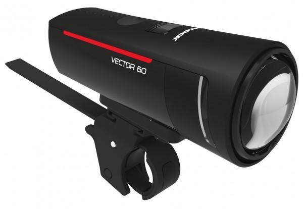 TRELOCK LED Akkufrontleuchte 60 LUX I-Go Vector inkl. Halter ZL 300 (22-32 mm) und USB-Ladekabel | B