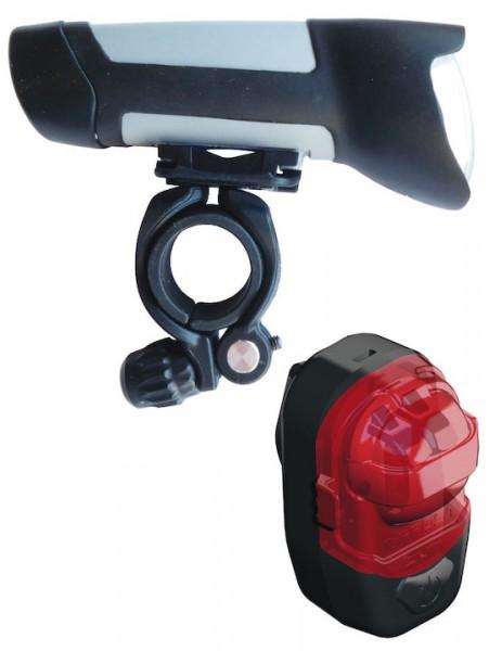 B&M LED Akkuleuchten Set 30 LUX IXON Fyre + IXXI inkl. Netzteil & USB-Kabel | Befestigung: Lenker /