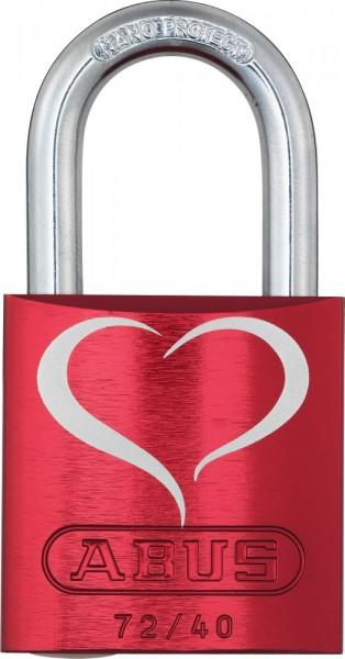 ABUS Fahrradschloss Vorhangschloss Aluminium 72/40 rot Love Lock 2 Lock-Tag
