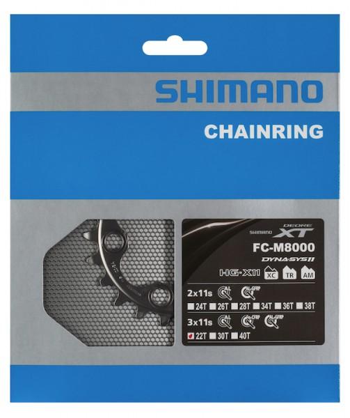 SHIMANO Kettenblatt Deore XT FCM8000 22 Zähne   silber   Lochkreis: 64 mm