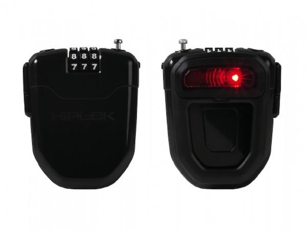 HIPLOK Zahlen-Kabelschloss FLX mit LED Licht schwarz | Länge: 1000 mm | inkl. Befestigungsclip und B