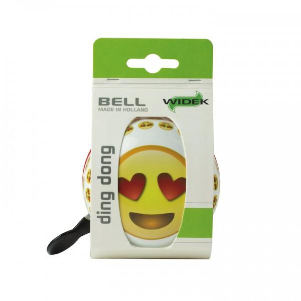 WIDEK Ding-Dong Glocke Emoji Heart Eyes weiß / gelb | Motiv: Emoji | Durchmesser: 80 mm