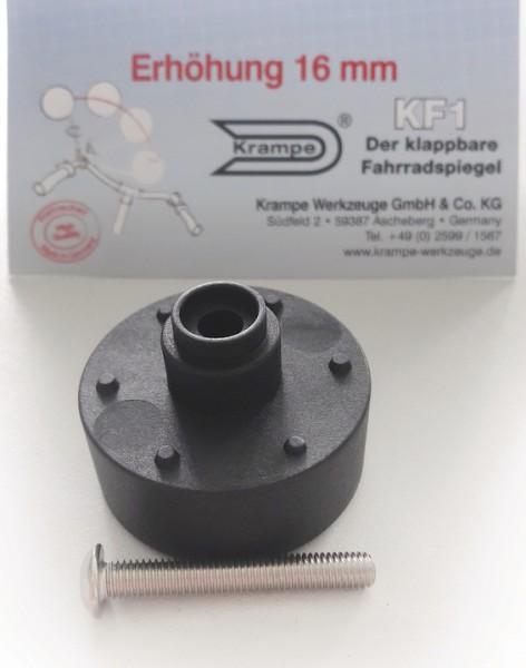 KRAMPE Höhen-Adapter für KF1, 16 mm schwarz | für Fahrradspiegel 09555
