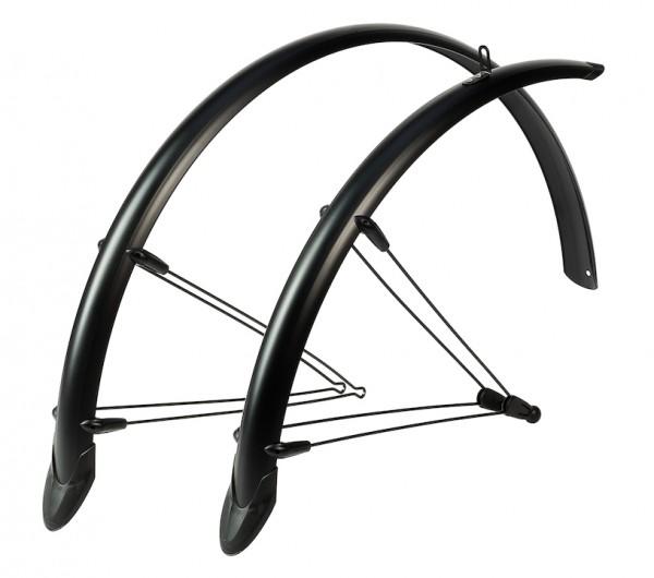 HEBIE Steckschutzblech Set Rainline Premium schwarz matt | Laufradgröße: 28 Zoll | Schutzblechbreite