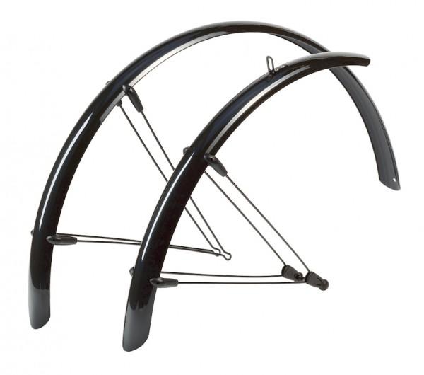 HEBIE Steckschutzblech Set Rainline schwarz glänzend   Laufradgröße: 26 Zoll   Schutzblechbreite: 60
