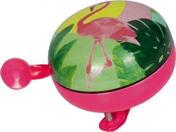 SPIEGELBURG Fahrradklingel Tropical groß pink / grün | Motiv: Flamingo | Durchmesser: 80 mm