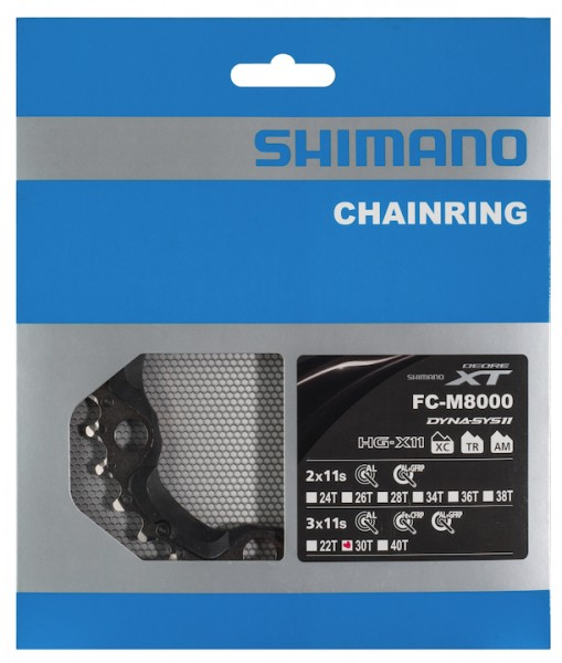 SHIMANO Kettenblatt Deore XT FCM8000 30 Zähne | schwarz | Lochkreis: 96 mm