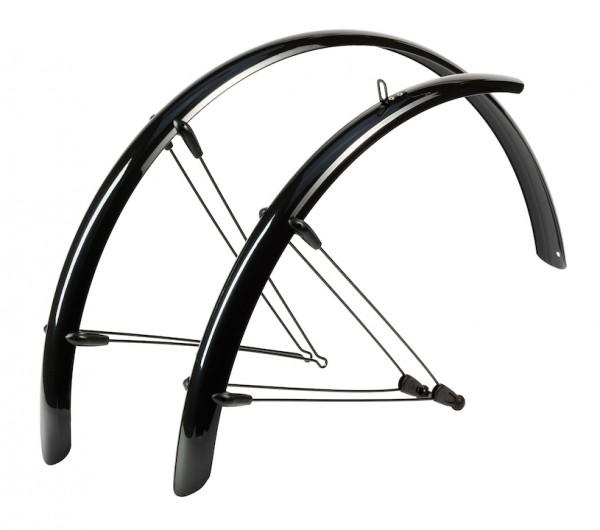 HEBIE Steckschutzblech Set Rainline schwarz glänzend | Laufradgröße: 26 Zoll | Schutzblechbreite: 58