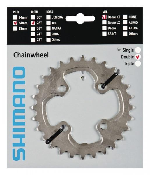 SHIMANO Kettenblatt Deore XT FCM785 24 Zähne   silber   Lochkreis: 64 mm