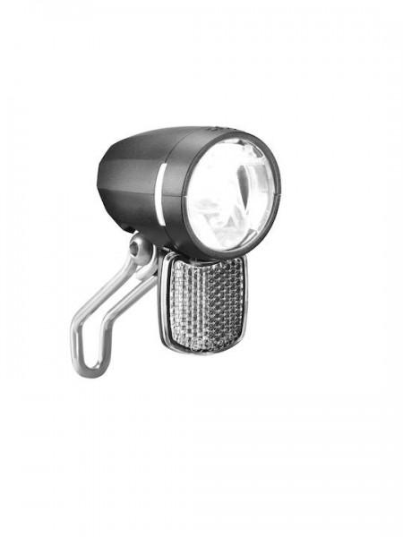 B&M E-Bike LED Scheinwerfer Lumotec IQ Myc DC inkl. Edelstahlhalter | Befestigung: Gabelkrone | schw