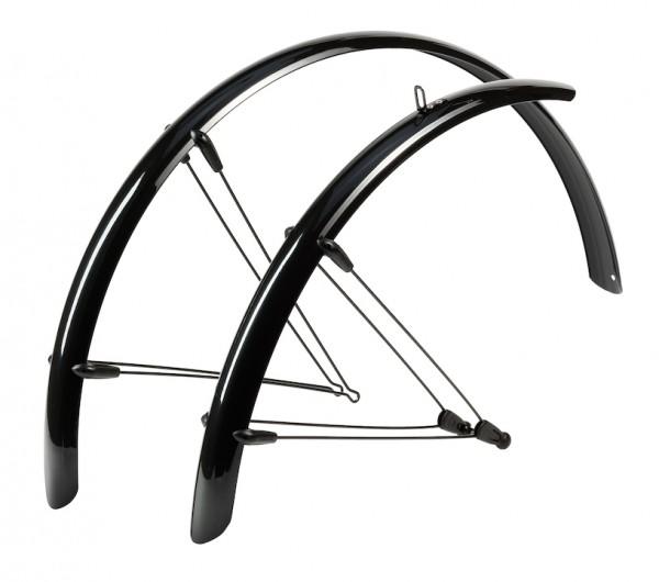 HEBIE Steckschutzblech Set Rainline schwarz glänzend | Laufradgröße: 28 Zoll | Schutzblechbreite: 48