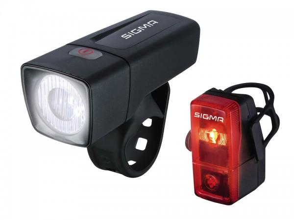 SIGMA LED Beleuchtungsset Aura 25 Lux + Cubic inkl. Batterien 2 x AAA u. 2 x AA   schwarz