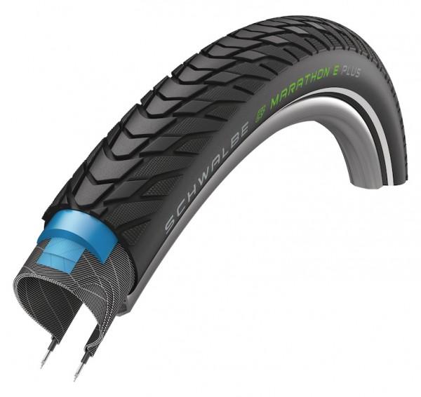 SCHWALBE Fahrradreifen Marathon E-Plus ADDIX HS498 28 Zoll | ETRTO: 55-622 | Draht | TwinSkin | ADDI