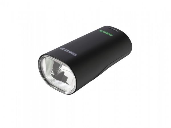 LITECCO LED Batteriefrontleuchte Highlux 30 Akku inkl. Halter (bis 31,8 mm), USB-Ladekabel und Li-Po