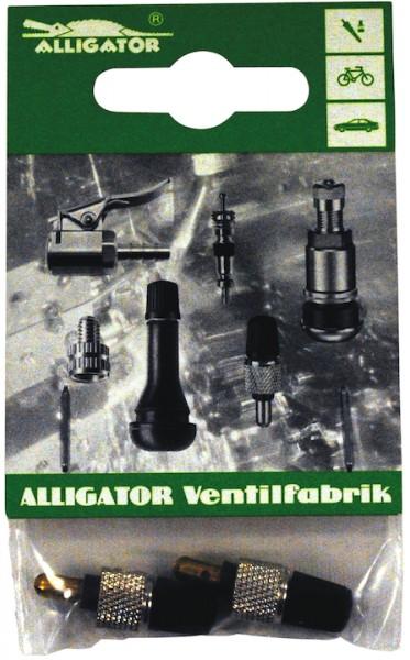 ALLIGATOR Blitzventil mit Staubkappe und Mutter DV | SB-Verpackung | schwarz / silber