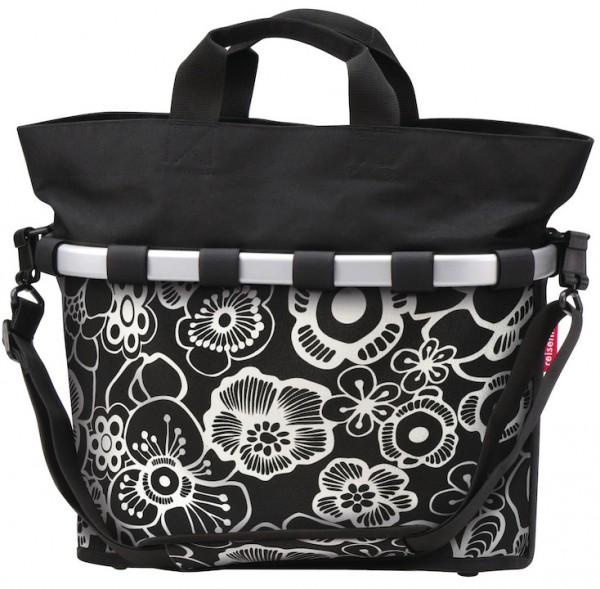 REISENTHEL Gepäckträgertasche Oval M Befestigung: KlickFix | fleur schwarz | Für Gepäckträger mit 6