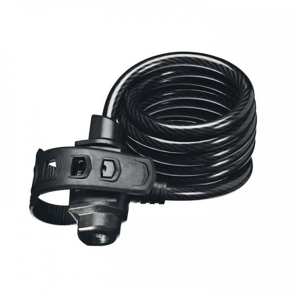 TRELOCK Spiralkabelschloss SK 322 FIXXGO schwarz | Länge: 1800 mm | Durchmesser: 12 mm