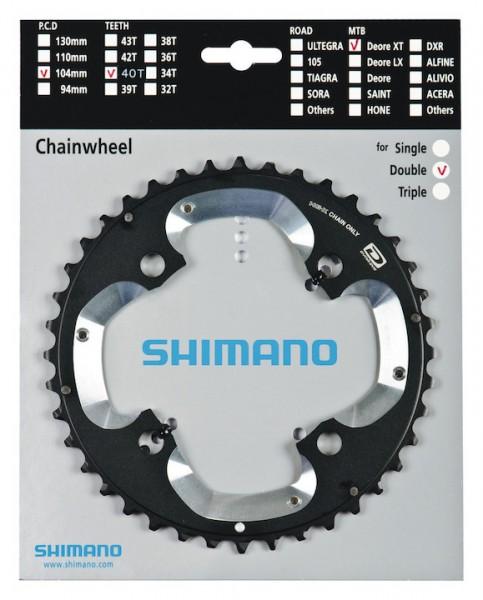 SHIMANO Kettenblatt Deore XT FCM785 40 Zähne | schwarz / silber | Lochkreis: 104 mm