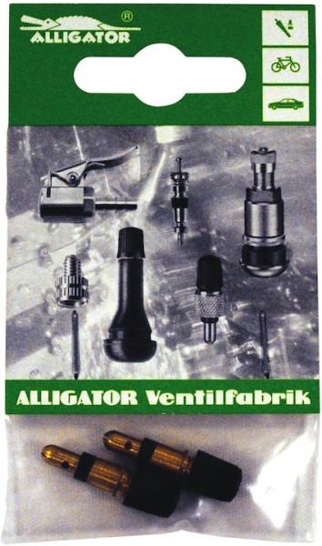 ALLIGATOR Blitzventil mit Staubkappe DV | SB-Verpackung | schwarz / silber | 2 Stück
